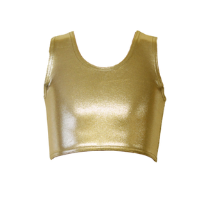 GOLD SHINE SLEEVELESS GIRLS CROP TOP - Click Dancewear