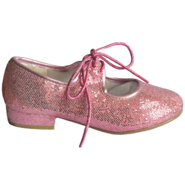 TAPPERS & POINTERS PINK GLITTER LOW HEEL TAP SHOES