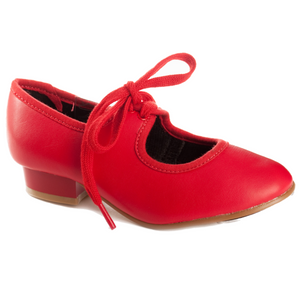 RED LOW HEEL PU TAP SHOES