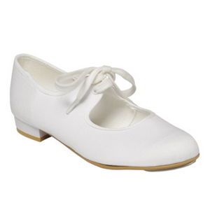 TAPPERS & POINTERS WHITE PU LOW HEEL TAP DANCE SHOES