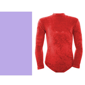 VANNABEL - VELOUR / VELVET LONG SLEEVE POLO NECK LEOTARD
