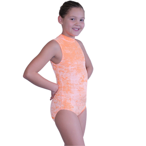 SHARON - VELOUR SLEEVELESS POLO NECK LEOTARD IN BRIGHT COLOURS - Click Dancewear