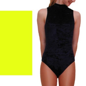 VSHARON - VELOUR SLEEVELESS POLO NECK LEOTARD IN BRIGHT COLOURS