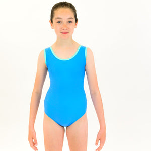ATHENA - RECYCLED SLEEVELESS PLAIN FRONT LEOTARD Dancewear Click Dancewear Cornflower / Minty 00 (Age 2-4)