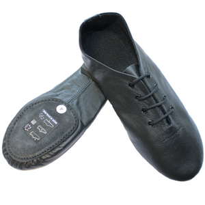 BLACK SPLIT SOLE JAZZ SHOE WITH SUEDE FRONT AND RUBBER HEEL