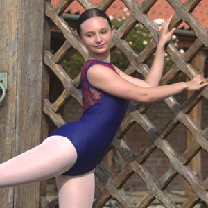 CATHERINE - NAVY SWEETHEART SLEEVELESS LEOTARD WITH CORAL MESH OPEN BACK Dancewear Click Dancewear