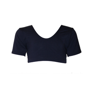 DONNA  - NAVY COTTON SHORT SLEEVE CROP TOP