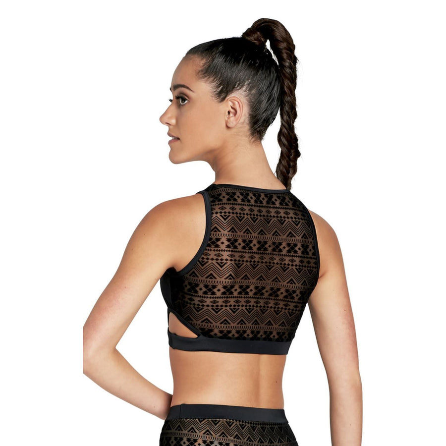 CUT OUT AZTEC MESH CROP TOP Dancewear Balera Black Cherry Intermediate Child