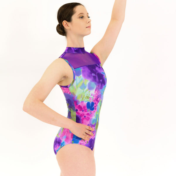FLEUR - SLEEVELESS POLO NECK LEOTARD WITH NET PANEL Dancewear Click Dancewear