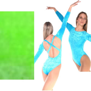 FRANCINE - FLO GREEN LOW BACK CRUSHED VELVET X BACK LEOTARD - SIZE 2A (AGE 10-11) Dancewear Arabesque
