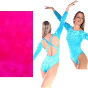 FRANCINE - FLO PINK LOW BACK CRUSHED VELVET X BACK LEOTARD - SIZE 4 (DRESS SIZE 10-12) Dancewear Arabesque