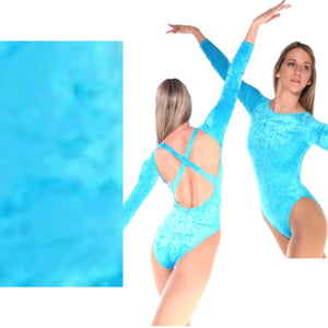 FRANCINE - TURQUOISE LOW BACK CRUSHED VELVET X BACK LEOTARD - SIZE 3 (DRESS SIZE 8-10) Dancewear Arabesque