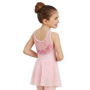 GIRLS PINK FLORAL MESH TANK DRESS Dancewear Balera