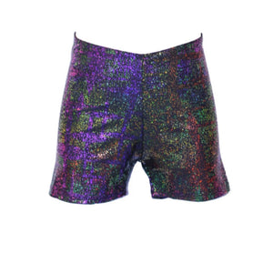 JAMIE - BLACK MULTICOLOUR HOLOGRAM HOTPANTS / SHORTS Dancewear Dancers World Black Multi Hologram 1 (Age 6-8)