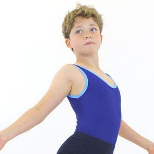 KAI - MEN'S RECYCLED VEST LEOTARD Dancewear Click Dancewear Racing / Cornflower 00 (Age 2-4)