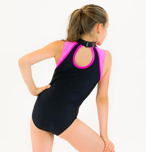 KIM - SHOULDER ACCENT SLEEVELESS POLO NECK LEOTARD Dancewear Click Dancewear