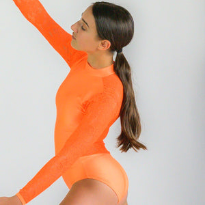 KYLIE - FLUORESCENT LACE LONG SLEEVE POLO NECK LEOTARD Dancewear Click Dancewear