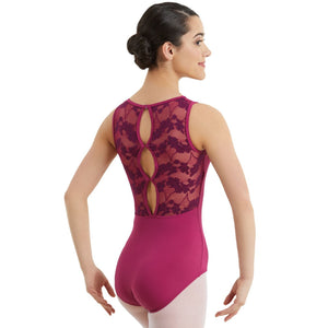LACE TANK KEYHOLE LEOTARD Dancewear Balera Mulberry Intermediate Child
