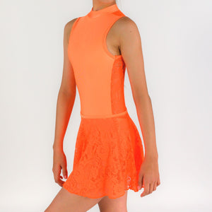 MACIE - FLUORESCENT LACE SLEEVELESS POLO NECK LEOTARD Dancewear Click Dancewear