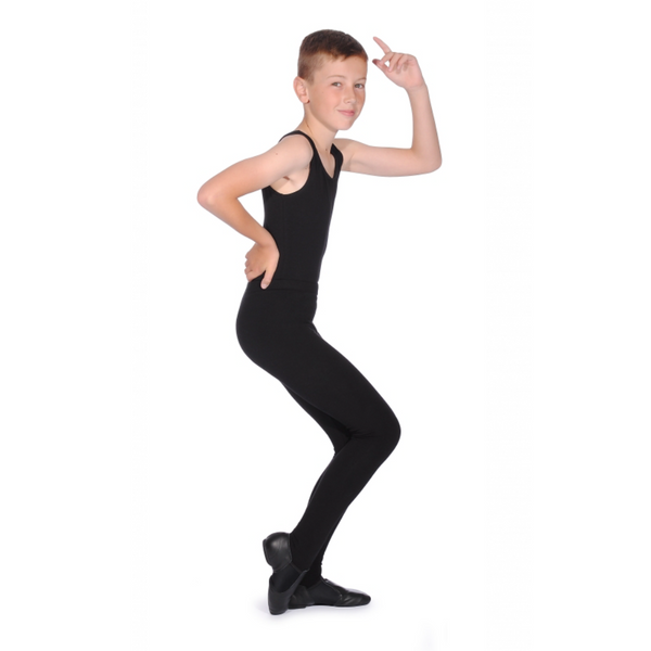 BOYS BLACK COTTON STIRRUP TIGHTS - MUSICAL THEATRE UNIFORM