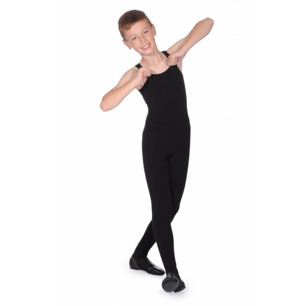 BOYS BLACK COTTON SLEEVELESS LEOTARD - MUSICAL THEATRE UNIFORM
