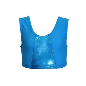 PAULA - KINGFISHER SLEEVELESS CROP TOP WITH SHINE PANEL Dancewear Dancers World