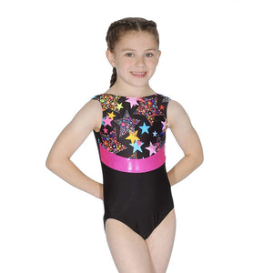 ROCH VALLEY - LA BLACK MULTI STAR GYMNASTIC LEOTARD....TEXT Gymnastics Roch Valley LA Print 1 (Age 5-6)