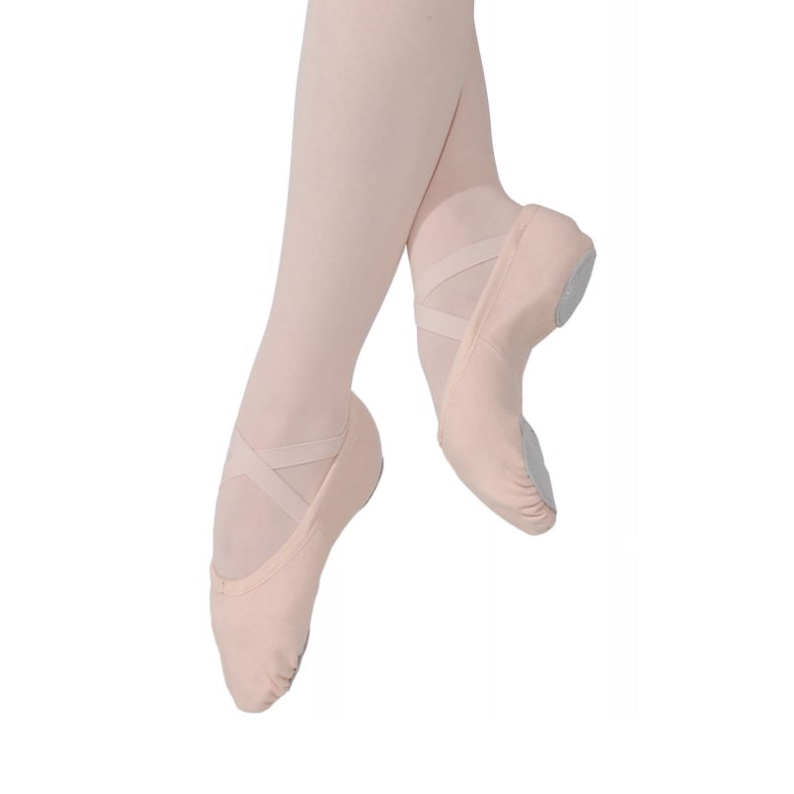 Roch Valley Ophelia Leather Ballet Shoes Full Suede Sole Pre-Attached Elastics Child Size 6 to Adult Size 8