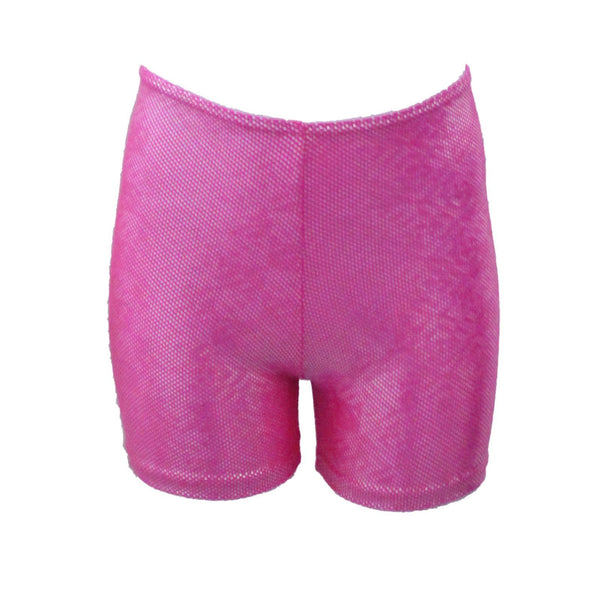 SAM - BRIGHT NEON PINK & SILVER HOLOGRAM SHORTS Children's Dancewear Dancers World