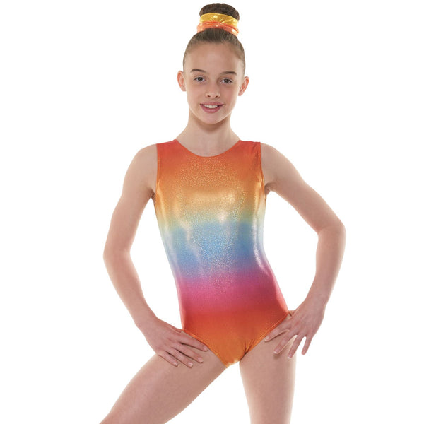 TAPPERS & POINTERS GYM 47 OMBRE HOLOGRAM SHINE GYMNASTIC LEOTARD Gymnastics Tappers and Pointers Ombre Rainbow 0 (Age 4-5)