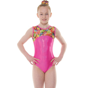 TAPPERS & POINTERS KALEIDOSCOPE COLLECTION TROPICAL GYM 50 GYMNASTIC LEOTARD - SIZE 1 Gymnastics Tappers and Pointers Pink hologram shine 1 (Age 6-8)