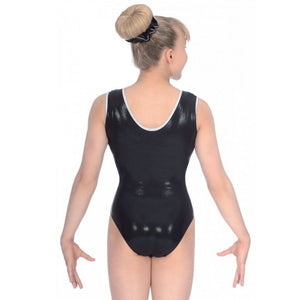 "THE ZONE GLAM BLACK SHINE SLEEVELESS GYMNASTIC LEOTARD - SIZE 28"" AGE 7-8 Gymnastics The Zone"