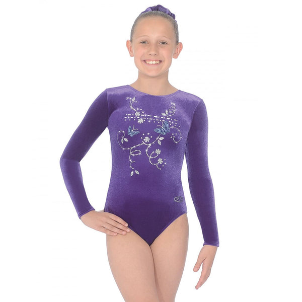 "THE ZONE PANACHE LONG SLEEVE SMOOTH VELVET GYMNASTIC LEOTARD - GRAPE 30"" Gymnastics The Zone Grape 30"""