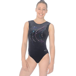 "THE ZONE POM POM SMOOTH VELVET GYMNASTIC LEOTARD WITH SEQUIN DETAIL - SIZE 32"" Gymnastics The Zone"
