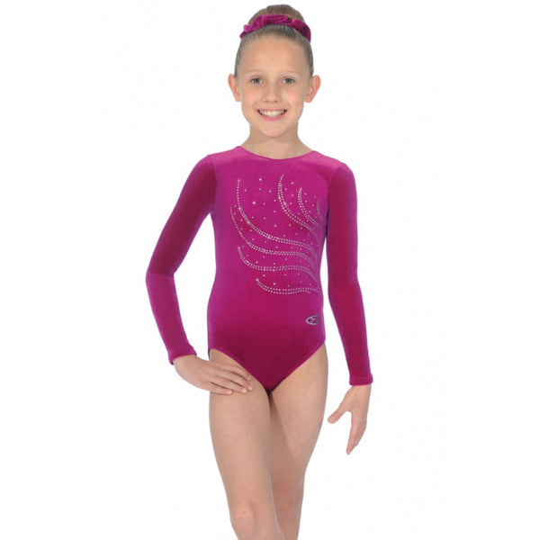 "THE ZONE TIARA LONG SLEEVE SMOOTH VELVET GYMNASTIC LEOTARD - CERISE 24"" Gymnastics The Zone Cerise 24"""