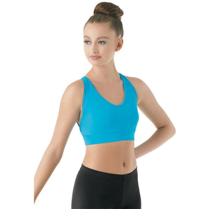 TURQUOISE OPEN BACK BRA TOP Dancewear Balera Turquoise Intermediate Child