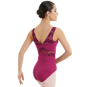 V NECK LACE LEOTARD Dancewear Balera Mulberry Intermediate Child