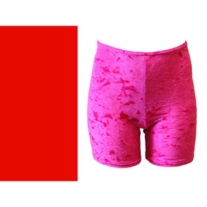 VSAM - VELOUR/VELVET THIGH LENGTH SHORTS Children's Dancewear Dancers World Red 0 (Age 4-6)