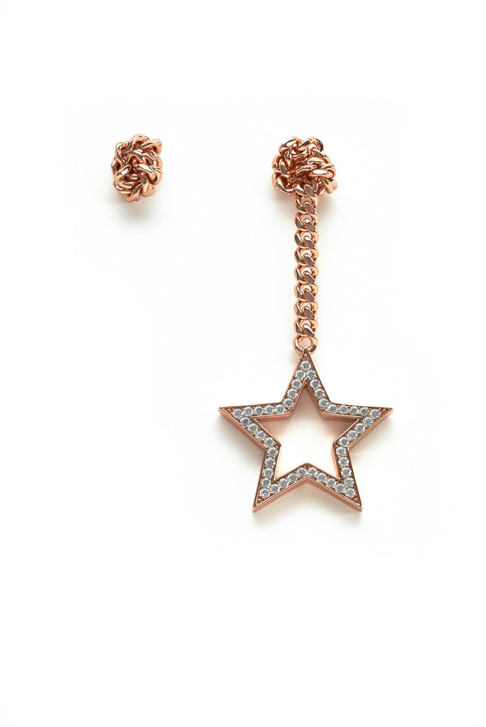 Falling Star Earrings Rose Gold