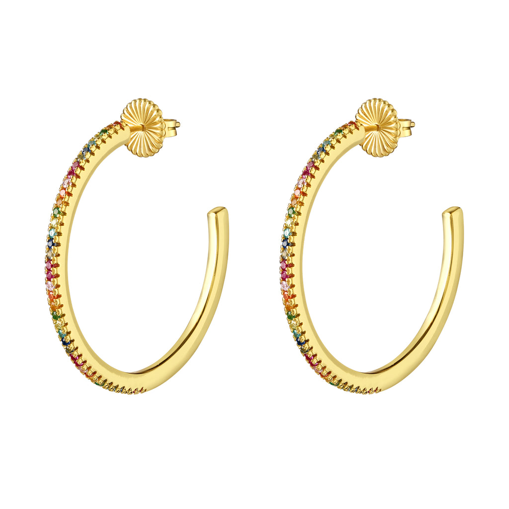 Noelani Hoops Gold with Rainbow Stones - Medium