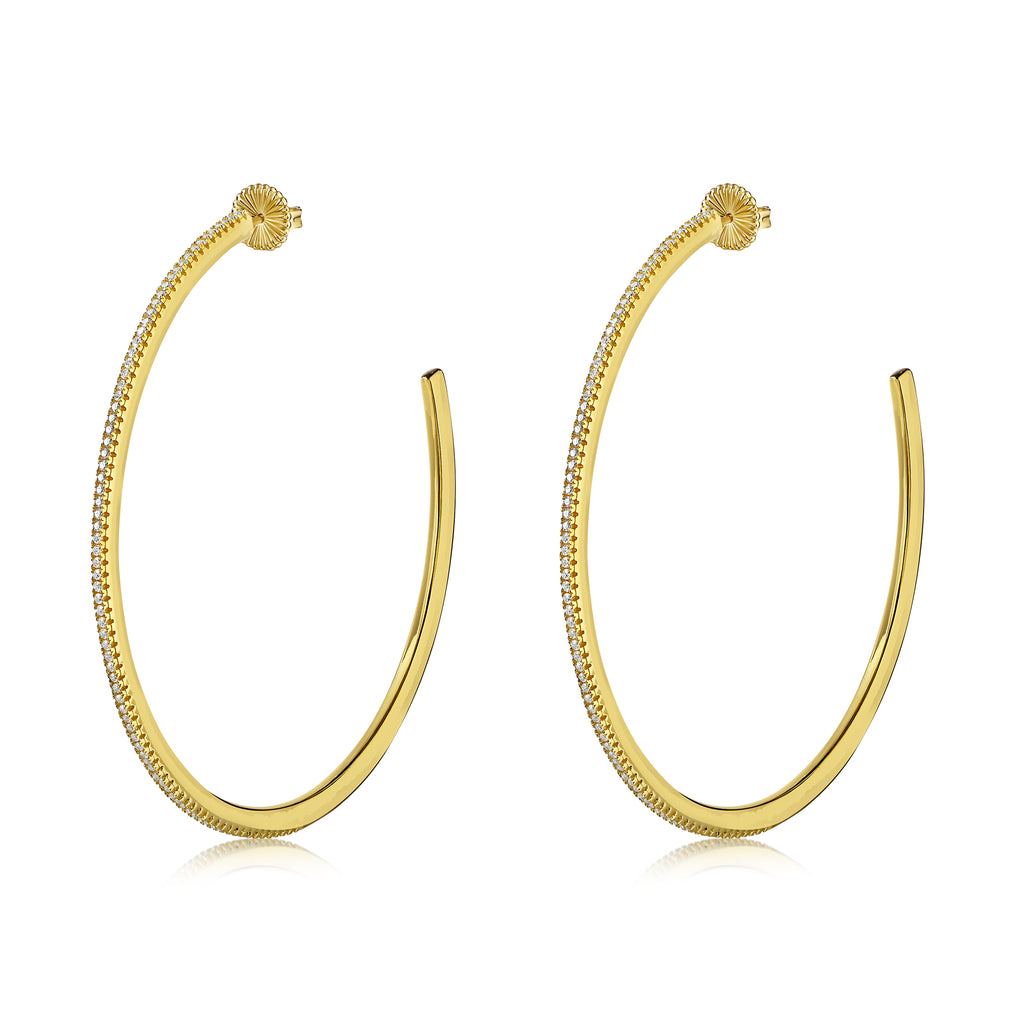 Noelani Hoops Gold with White Stones - Large