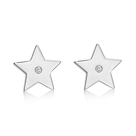 Star Earrings White Rhodium