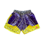 Paisley Shorts Purple & Yellow