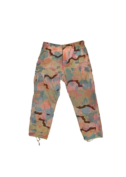 RCNSTRCT PASTEL OVER DYE MILITARY PANT WITH PATCHWORK