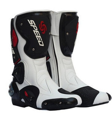 New fashion leather motorcycle boots Pro Biker SPEED Racing Boots Motocross Boots drop resistance - PDXMotorSport