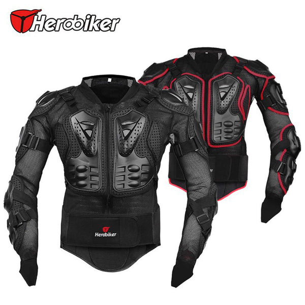 HEROBIKER Breathable Motorcycle Body Armor Jacket protector moto accessories Motocross body Protective Gear Black/Red