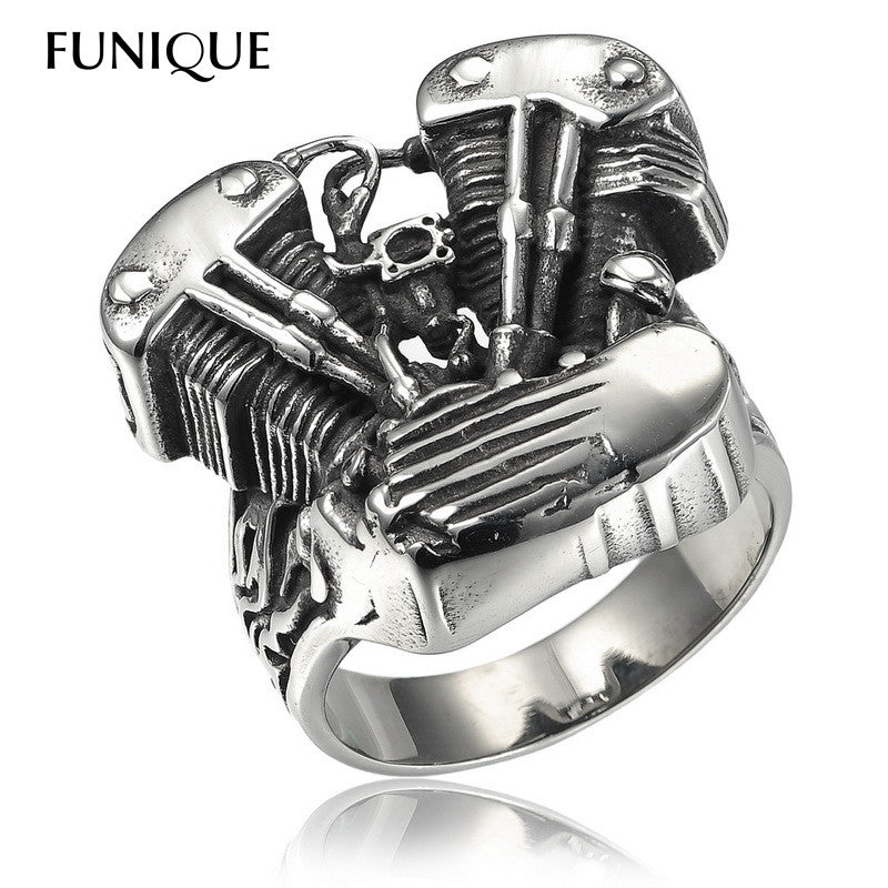 New Cool Biker Ring men 316L Stainless Steel Rings Motorcycle Engine Vintage Gothic Rock Punk Jewelry Men Ring - PDXMotorSport