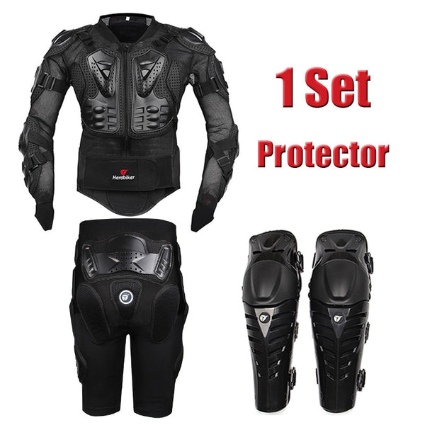 HERO BIKER Motorcycle Body Protection Motocross Racing Full Body Armor + Gears Short Pants Protective Motorcycle Knee Pad