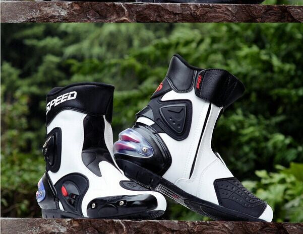 Botas Hombre PU leather Motorcycle Boots Pro-biker Speed Bikers Moto Racing Motocross Leather Shoes Black/red/white - PDXMotorSport