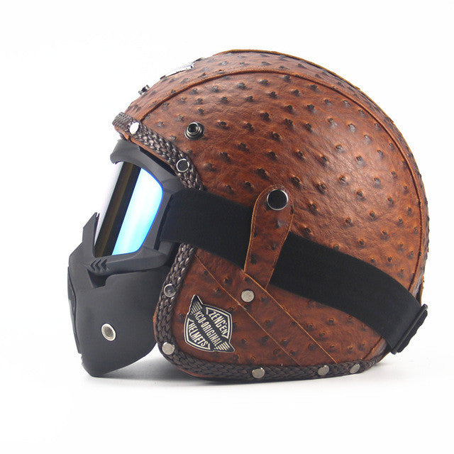 Leather Harley Helmets 3/4 Motorcycle Chopper Bike helmet open face vintage motorcycle helmet with goggle mask motocross - PDXMotorSport
